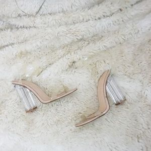 Lola Shoetique clear barely there block heels